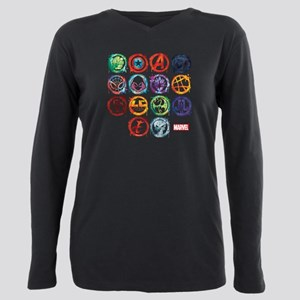 Marvel All Splatter Icon Plus Size Long Sleeve Tee