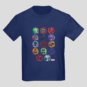Marvel Icon Favorites Splatter Kids Dark T-Shirt