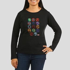 Marvel Icon Favor Women's Long Sleeve Dark T-Shirt