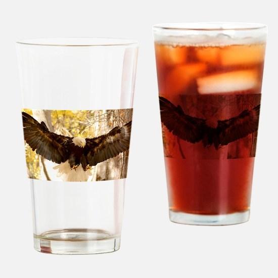 Bald Eagle in Flight Drinking Glass