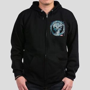 Punisher Grunge Icon Zip Hoodie (dark)
