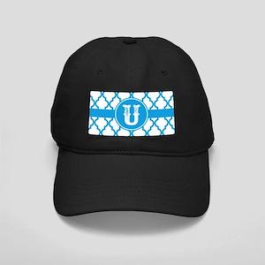 Blue Monogram: Letter U Black Cap with Patch