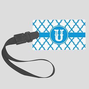 Blue Monogram: Letter U Large Luggage Tag