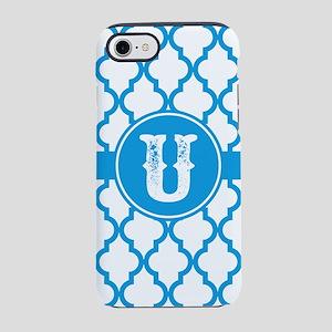 Blue Monogram: Letter U iPhone 8/7 Tough Case