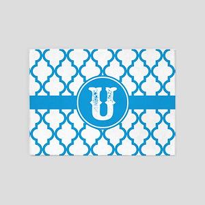 Blue Monogram: Letter U 5'x7'Area Rug