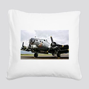 B-17 Bomber Airplane Square Canvas Pillow