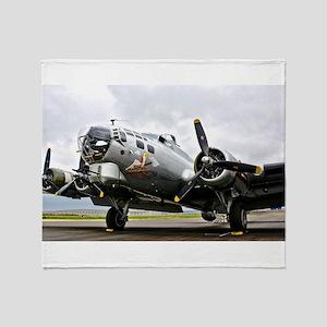 B-17 Bomber Airplane Throw Blanket