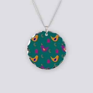 Colorful Chickens on Teal Necklace Circle Charm