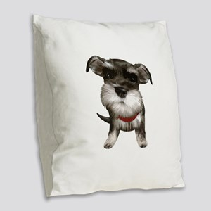 Mini Schnauzer001 Burlap Throw Pillow