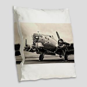 B-17 Bomber Aircraft Burlap Throw Pillow