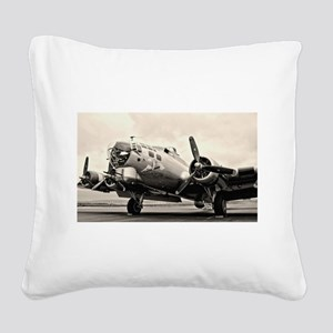 B-17 Bomber Aircraft Square Canvas Pillow