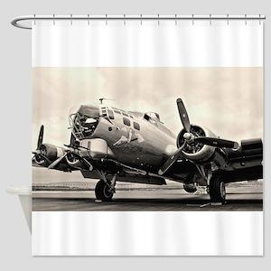 B 17 Bomber Aircraft Shower Curtain