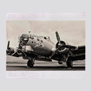 B-17 Bomber Aircraft Throw Blanket