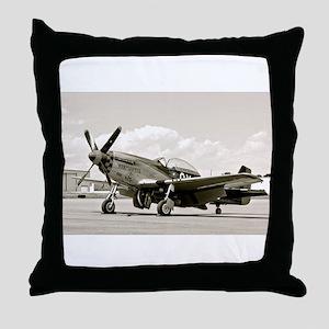 P-51 Airplane Throw Pillow