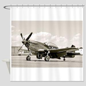 P-51 Airplane Shower Curtain