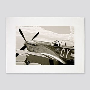 P-51 Fighter Plane 5'x7'Area Rug