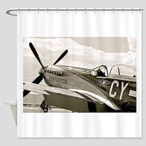 P-51 Fighter Plane Shower Curtain
