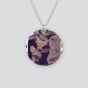 Vintage poster - Social Secu Necklace Circle Charm