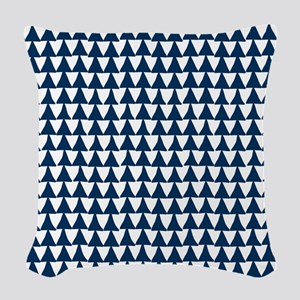 Blue, Navy: Triangle Arrows Pa Woven Throw Pillow
