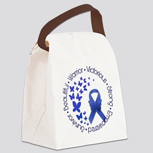 Blue Awareness Ribbon Canvas Lunch Bag