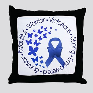 Blue Awareness Ribbon Throw Pillow