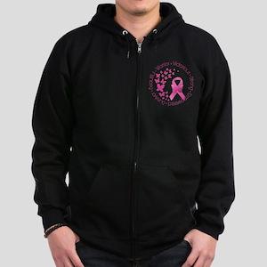 Breast Cancer Pink Ribbon Zip Hoodie (dark)