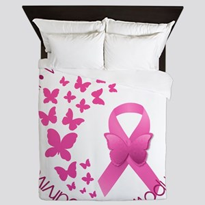 Breast Cancer Pink Ribbon Queen Duvet
