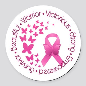 Breast Cancer Pink Ribbon Round Car Magnet