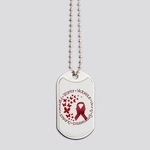 Red Awareness Ribbon with Butterflies Dog Tags