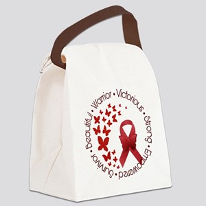 Red Awareness Ribbon with Butterf Canvas Lunch Bag