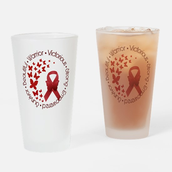 Red Awareness Ribbon with Butterfli Drinking Glass