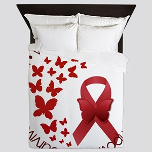Red Awareness Ribbon with Butterflies Queen Duvet