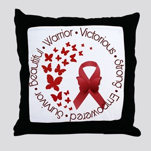 Red Awareness Ribbon with Butterflies Throw Pillow