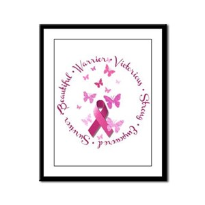 Breast Cancer Pink Ribbon Framed Panel Print