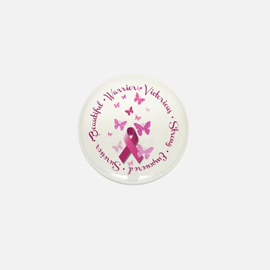 Breast Cancer Pink Ribbon Mini Button