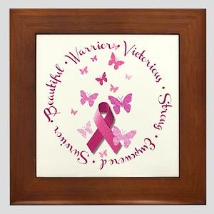 Breast Cancer Pink Ribbon Framed Tile