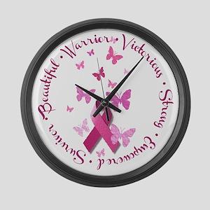 Breast Cancer Pink Ribbon Large Wall Clock