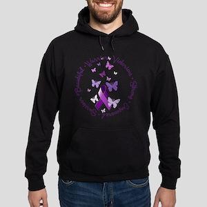 Purple Ribbon with Empowering Words Hoodie (dark)