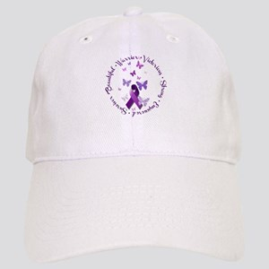 Purple Ribbon with Empowering Words Cap
