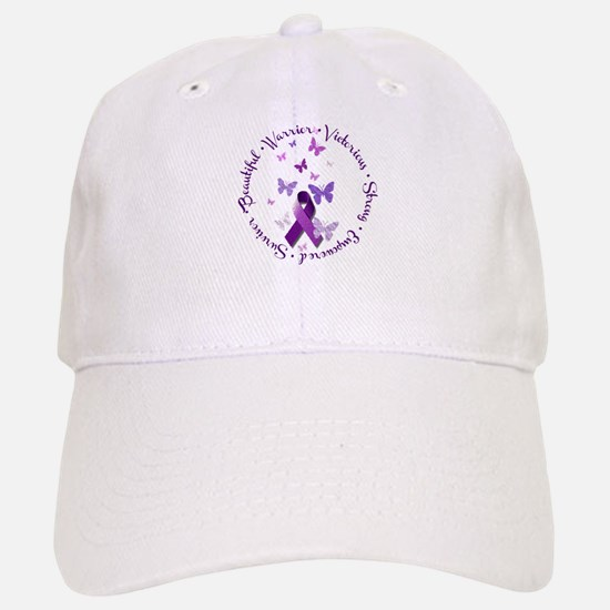 Purple Ribbon with Empowering Words Baseball Baseball Cap
