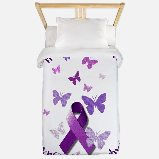 Purple Ribbon with Empowering Words Twin Duvet