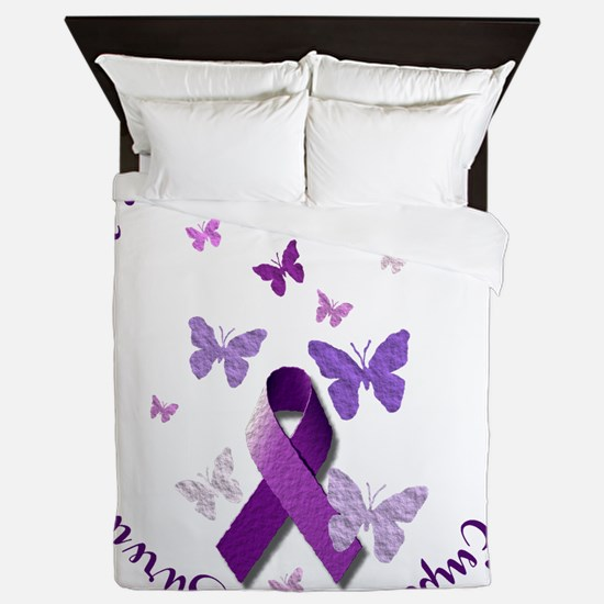 Purple Ribbon with Empowering Words Queen Duvet