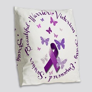 Purple Ribbon with Empowering Burlap Throw Pillow