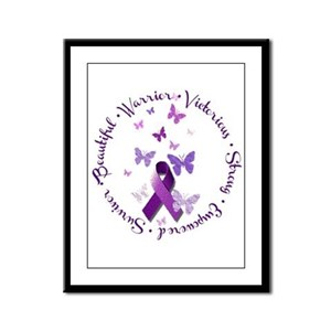 Purple Ribbon with Empowering W Framed Panel Print