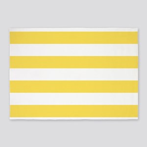Yellow, Canary: Stripes Pattern (Ho 5'x7'Area Rug