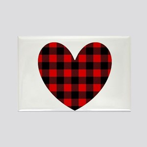 Buffalo Plaid Heart Magnets