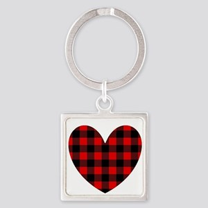 Buffalo Plaid Heart Keychains