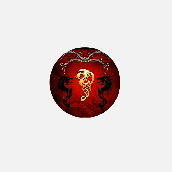 Amazing dragons in gold and black Mini Button