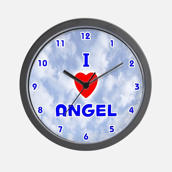I Love Angel (Blue) Valentine Wall Clock