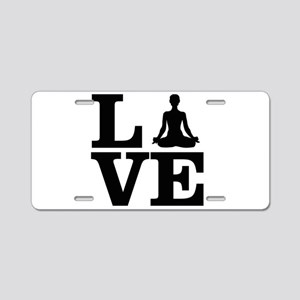 i love yoga Aluminum License Plate